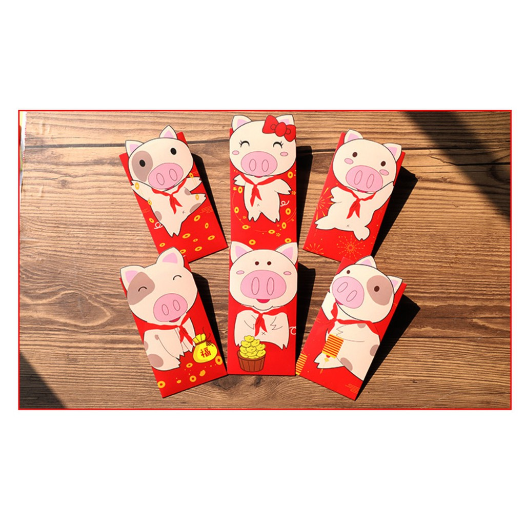 EVON 6PCS 3D DESIGN PIGGY YEAR 2019 SPRING CHINESE NEW YEAR ANG POW FORTUNE